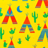 Gift Wrap - Teepees - Yellow/Metallic Green, Blue and Red