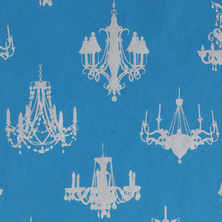 Gift Wrap - Chandelier - Silver on Blue