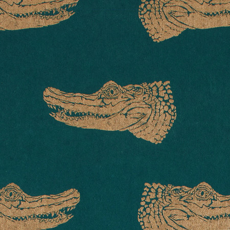 Gift Wrap - Crocodiles - Gold on Green