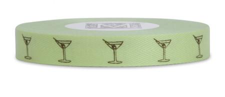 Symbols on Herringbone - Brown ink Martini Glass on Passion Fruit