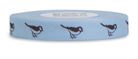 Symbols on Herringbone - Brown ink Birds on Ciel