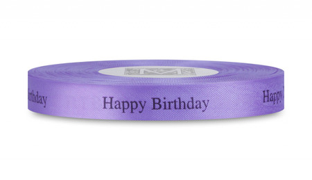"Black ""Happy Birthday"" on Wisteria Ribbon - Rayon Trimming Sayings"