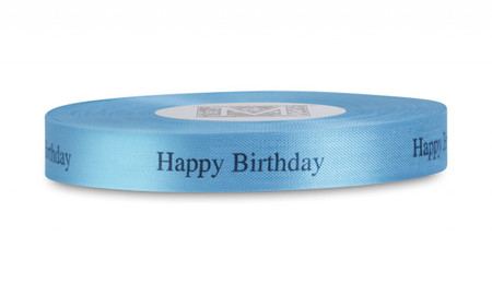 "Black ""Happy Birthday"" on Caribbean Ribbon - Rayon Trimming Sayings"
