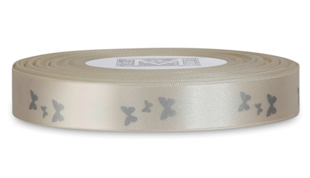 Sterling Butterflies on White Ribbon - Double Faced Satin Symbols