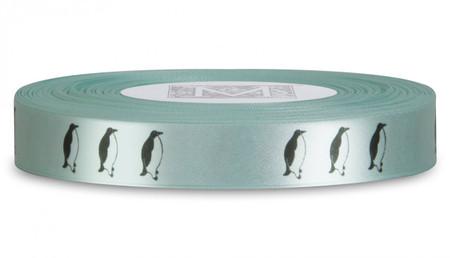 Double Faced Satin Symbols - Black ink Penguin on Spa