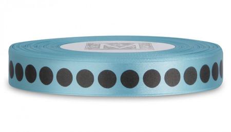 Double Faced Satin Ribbon Symbols - Brown ink Dots on Aquamarine