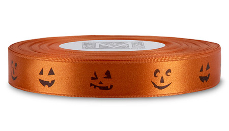 Black ink Jack O'Lantern on Mandarin Ribbon - Double Faced Satin Symbols