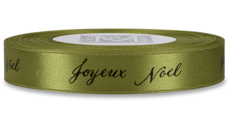 "Black ""Joyeux Noel"" on Fig Ribbon - Double Faced Satin Sayings"