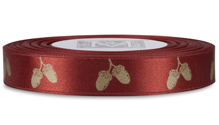 White Gold Acorn on Venetian Red Ribbon - Double Faced Satin Symbols