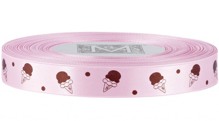 Brown Ice Cream on Blush Ribbon - Double Faced Satin Symbols