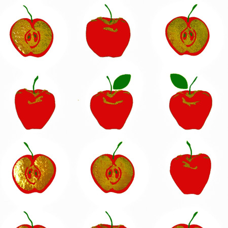 Gift Wrap - Apples - White/Red Metallic Gold