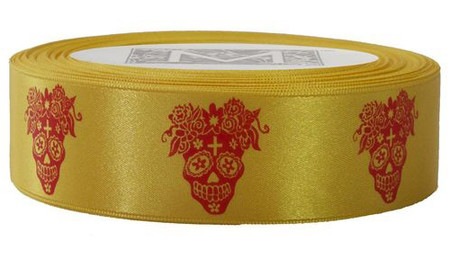 Day of the Dead - Red ink on Amarillo Ribbon - Double Faced Satin Symbols