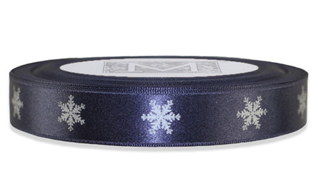Silver Snowflake on Storm Ribbon - Double Faced Satin Symbols