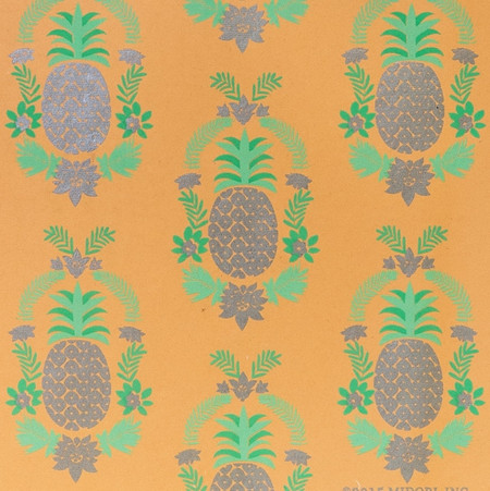 Gift Wrap - Floral Pineapple - Silver Metallic/Light&Medium Green/Peach