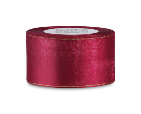 Edged Organdy Ribbon - Cranberry/Gold