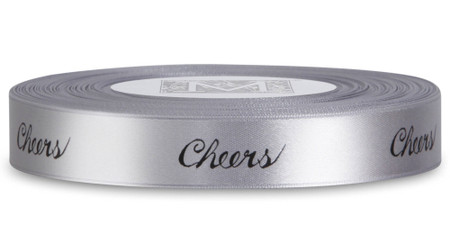 "Double Faced Satin Sayings - Black ink ""Cheers"" on Sterling"