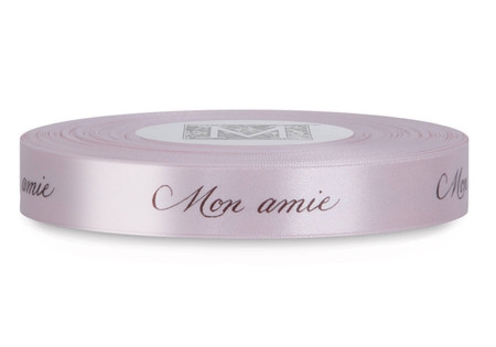 """Brown ink """"Mon Amie"""" on Cherry Blossom Ribbon - Double Faced Satin Sayings"""