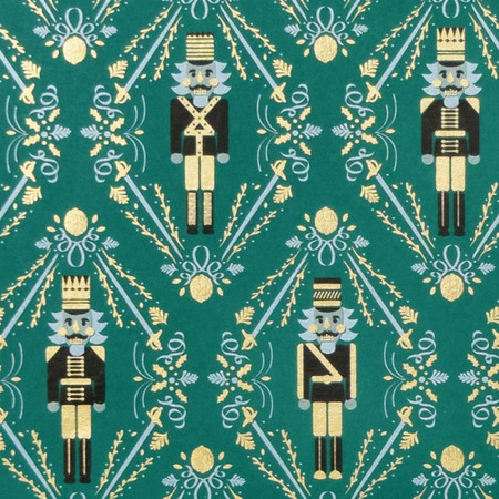 Gift Wrap - Nutcracker - Green/Metallic White/Metallic Black/Metallic Gold