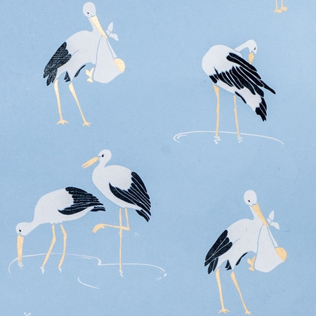 Stork – Light Blue/Black, White & Copper Metallic