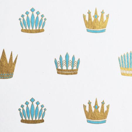 Royal Crown  - White/Light Blue and Metallic Gold