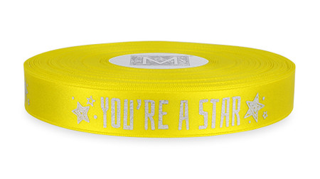 """Silver Ink """"You're A Star"""" on Golden Chain Ribbon - Double Faced Satin Sayings"""