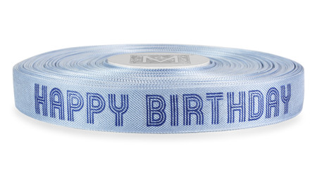 "Navy ""Happy Birthday"" on Ice Blue Ribbon - Rayon Trimming Sayings"