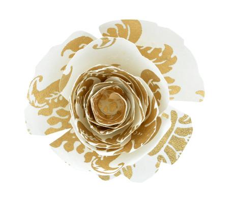 Paper Rose Topper - Pineapple White/Gold
