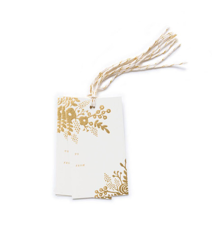 These high end illustrated die cut gift tags (with a To and From on back) have a dash of gold foil, printed on heavy cardstock. FSC certified Care Paper, made in the USA.