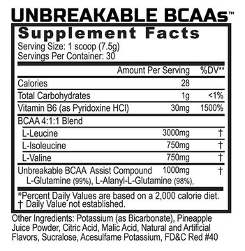 Unbreakable BCAAs 4:1:1 - Branch Chain Amino Acid Blend - Supplement Facts