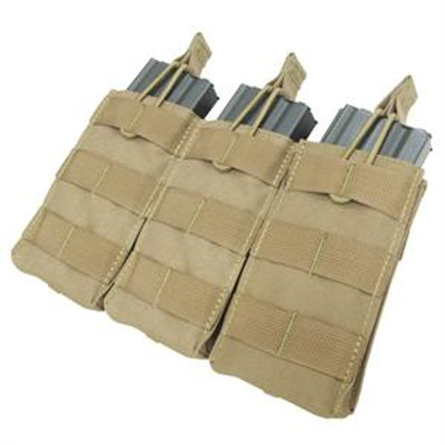 Tactical Molle Triple Open Top M4/M16 Mag Pouch - Tan