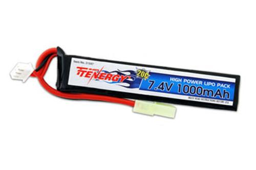 Tenergy 7.4V 1000mAh Li-Po Airsoft Stick Battery Pack