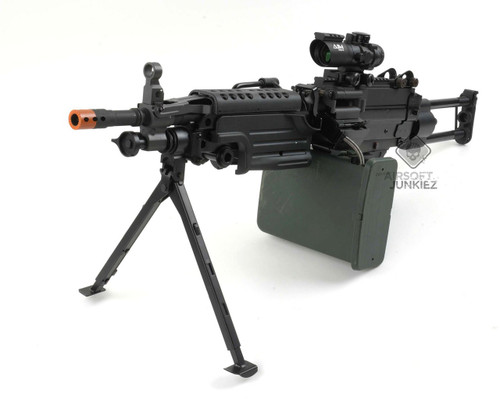 Airsoftjunkiez  PolarStar F2 custom M249 Para with Box Mag Shooting 400+ FPS