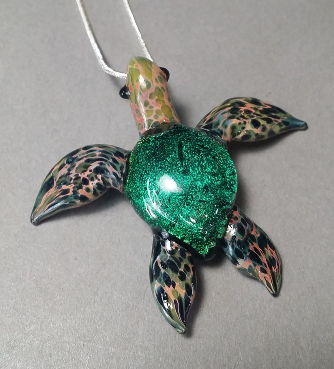Green sea turtle pendant green sea turtle pendant with silver serpentine chain for gals aloadofball Image collections