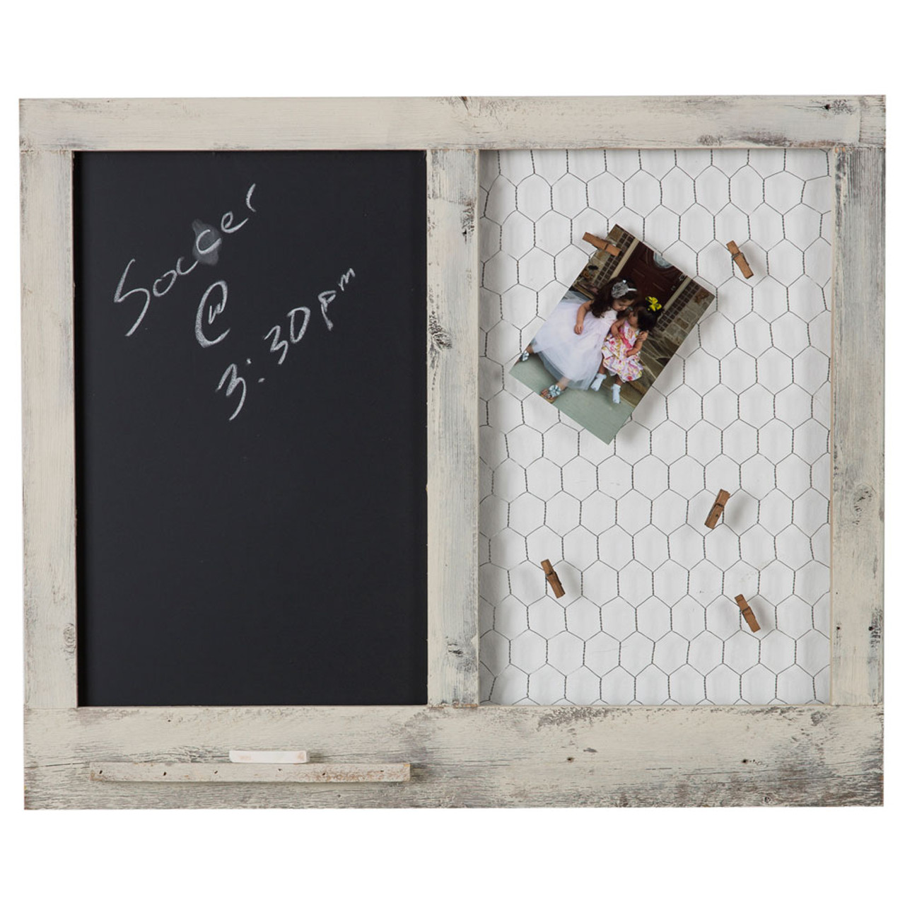 Message Center with Chalk Board and Chicken Wire