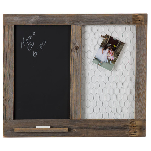 Chalkboard Message Center with Chicken Wire Photo Display - Natural