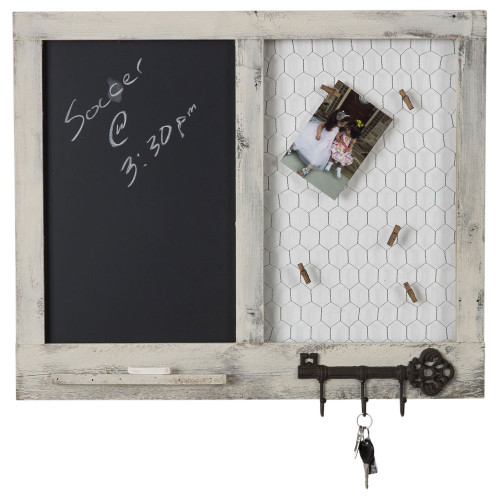 Chalkboard Message Center with Chicken Wire Photo Display and Key Hooks - Whitewash
