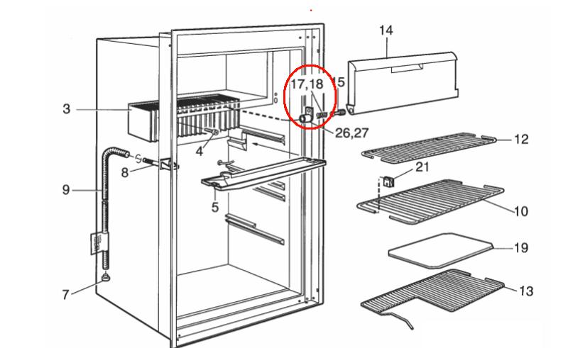 Dometic Freezer Door Spring Right 2932754027