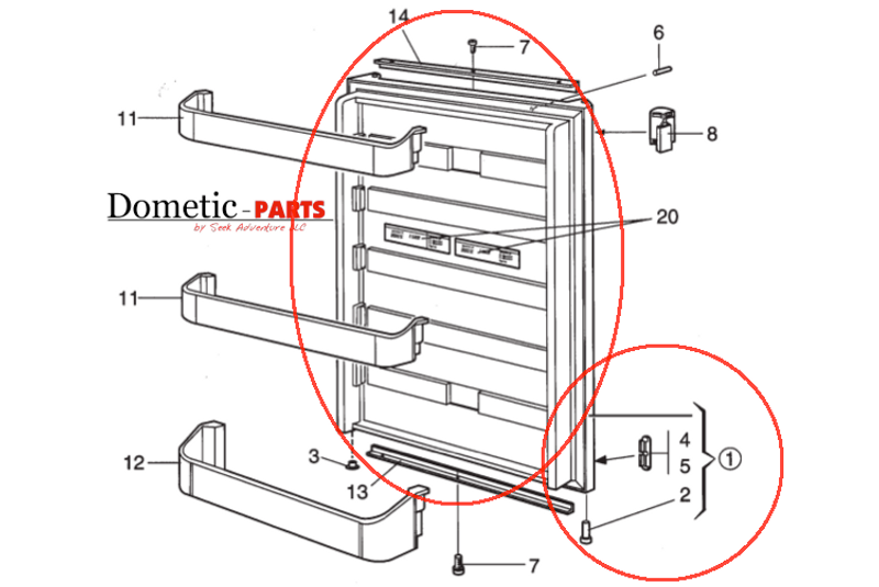 Dometic Refrigerator Lower Door 2932563121