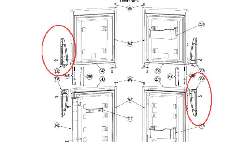 Dometic Refrigerator Door Handle (Bottom RH/ Top LH) 3851299010 ...