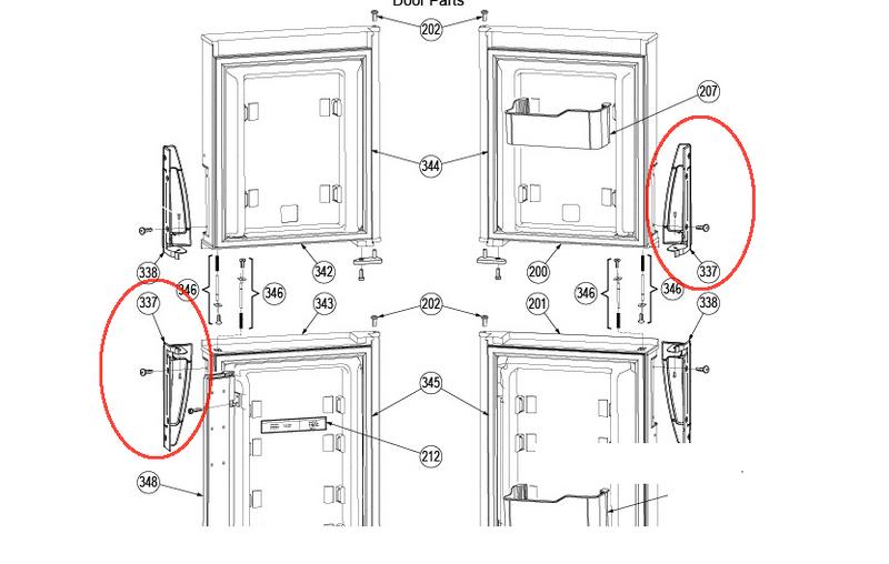 Dometic Refrigerator Door Handle (Bottom LH/Top RH) 3851299028 - The ...