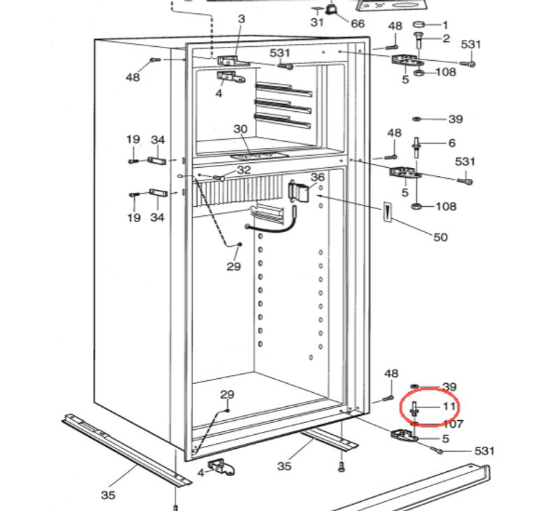 Dometic Lower Refrigerator Door Hinge Pin 2932649011