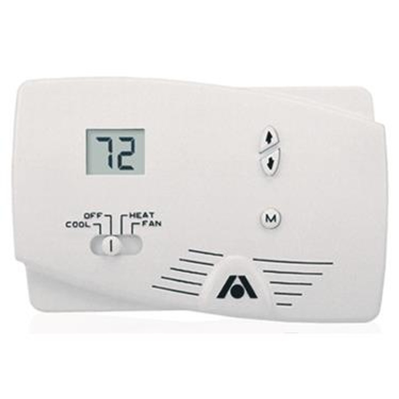 Wall Thermostat; Single Stage; For Heat and Cool Control; Not Programmable; Digital Readout; 12 Volt Hard Wired; Without Fan Speed Control; With Fan On Mode; White Case