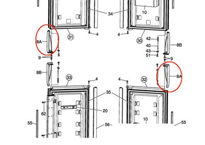 Dometic Refrigerator Door Handle (LR & UL) 3851057020