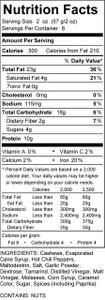 Sriracha Nutrition Panel Low Carb