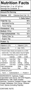 Sriracha Cashews Sweet & Hot Nutrition Panel