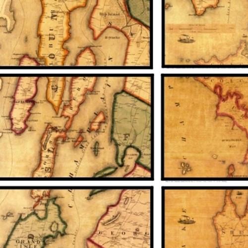 Lake Champlain Historic Maps- Framed Set of 6