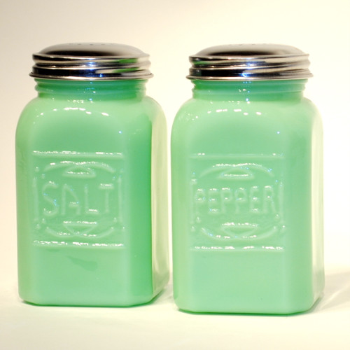 Jade Green Glass Salt & Pepper Shakers