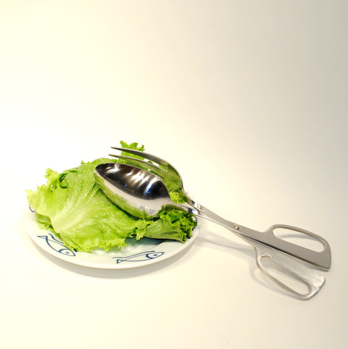 Hinged One-Hand Salad Tongs