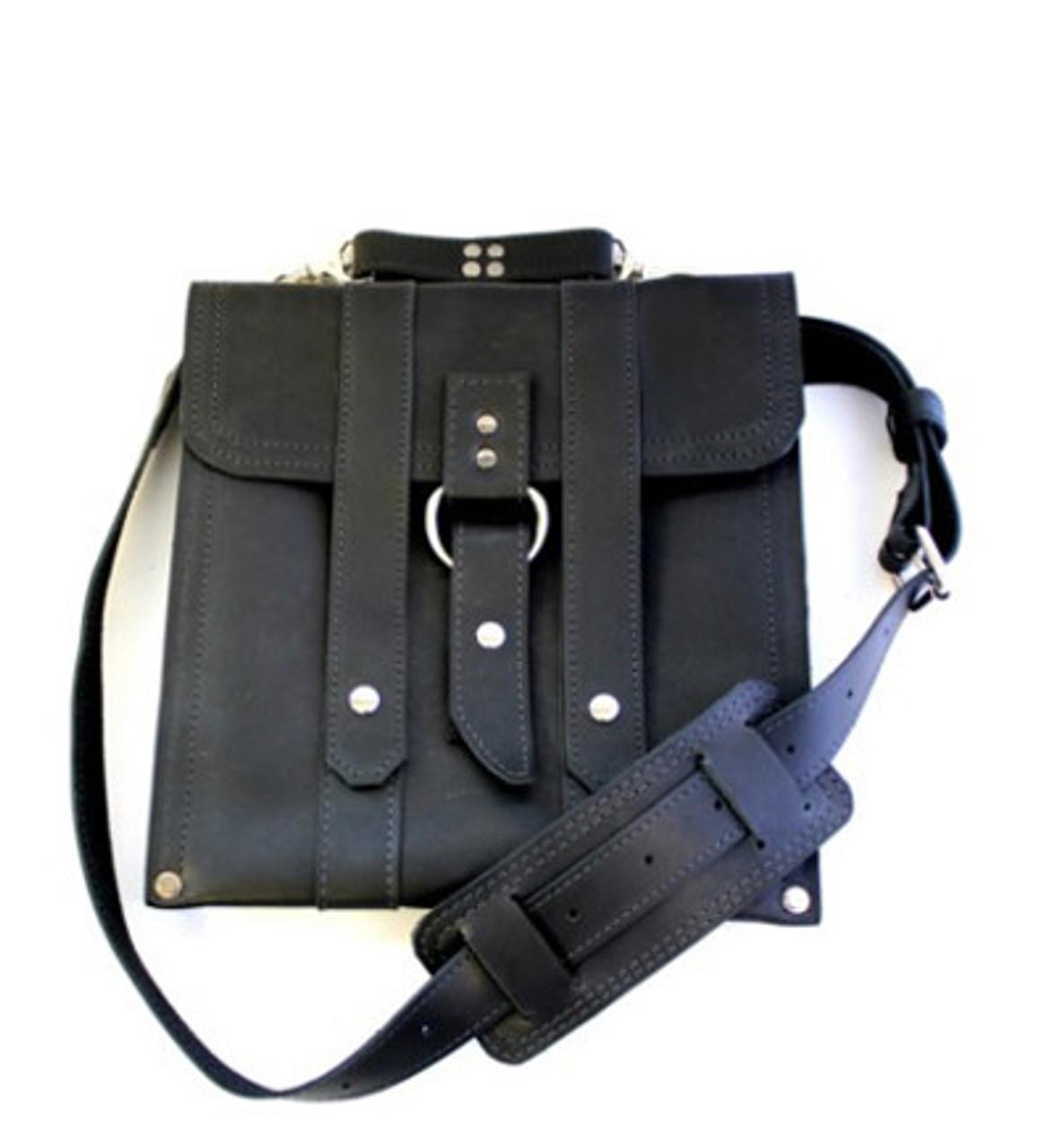 Slim 10 Baxter Messenger Ipad Tablet Bag In Black Leather