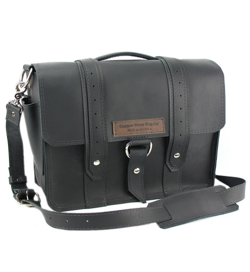 "14"" Newtown  Voyager Medium Laptop Bag in Black Leather"